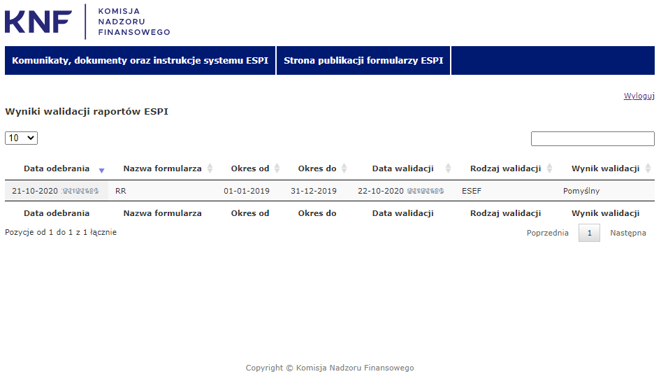 KNF Komisja Nadzoru Finansowego Komunikaty, dokumenty oraz instrukcje systemu ESPI,  Wynik walidacji raportów ESPI